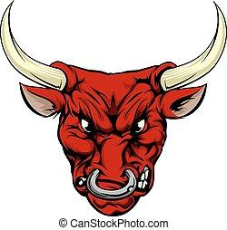boos, stier, rood, mascotte