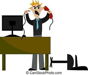 boos, vector, receptionist, achtergrond., illustratie, witte...