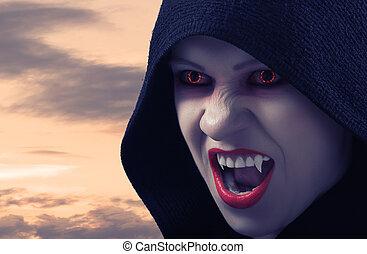boos, vrouwlijk, vampier, op, ondergaande zon