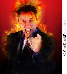 boos, wijzende, afgevuurde, vlammen, baas