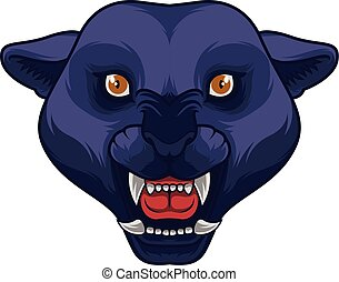 boos, zwarte panther, hoofd, mascotte