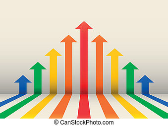 boost illustration, arrows with different colors indicating a boost in success