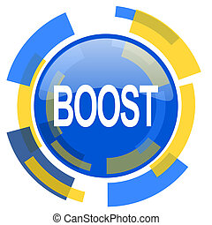 boost blue yellow glossy web icon