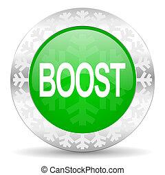 boost green icon, christmas button