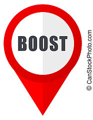 Boost red web pointer icon. Webdesign button on white background.
