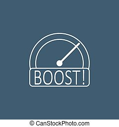 Boost speedometer. Line icon. Vector
