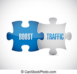 boost traffic puzzle pieces illustration design over a white...