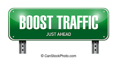 boost traffic road sign illustration design over a white...