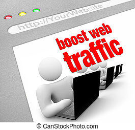 A web browser window shows the words Boost Web Traffic and several people working on laptop computers