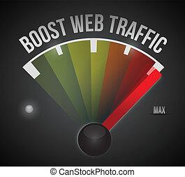 boost web traffic speedometer. illustration design over a black background