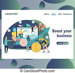 Boost your business landing page template. People with an arrow going up