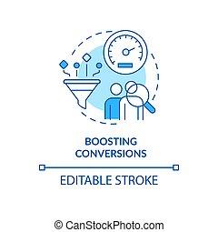 Boosting conversion blue concept icon