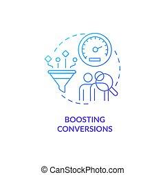 Boosting conversion blue gradient concept icon