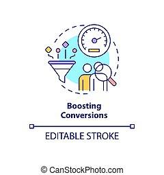 Boosting conversion concept icon