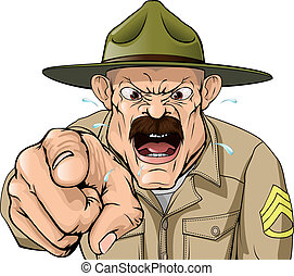 Boot Camp Drill Sergeant - An illustration of a cartoon...