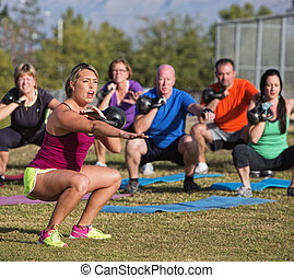 Boot Camp Fitness Trainer Yelling - Boot camp fitness...