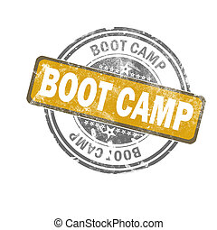 Boot camp now yellow vintage stamp, 3D rendering