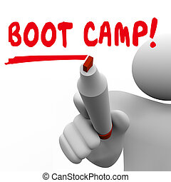 Boot Camp Person Writing Words Marker Pen 3d Illustration