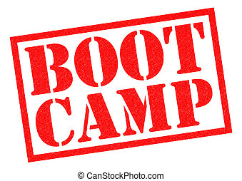 BOOT CAMP red Rubber Stamp over a white background.