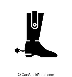 boot - cowboy icon, vector illustration, black sign on isolated background