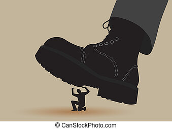 Boot Crushing - Army boots crushes small silhouette of man