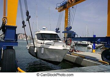 boot dock, kranservice, fischerei, erhebend
