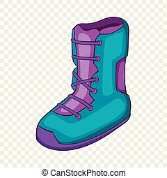 Boot for snowboarding icon, cartoon style