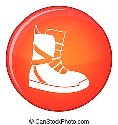 Boot for snowboarding icon, flat style