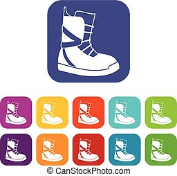 Boot for snowboarding icons set