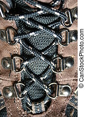 Boot Laces - A close up of hiking boot laces