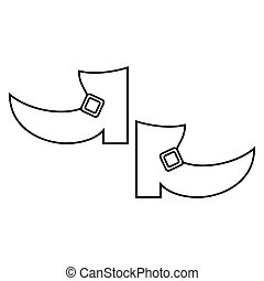 boot leprachaun st patrick day outline vector illustration...