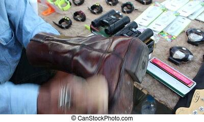 Boot Polisher Work On Street