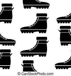 Boot seamless pattern on white.