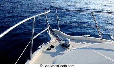 boot, segeln, in, a, gelassen, blaues, meer