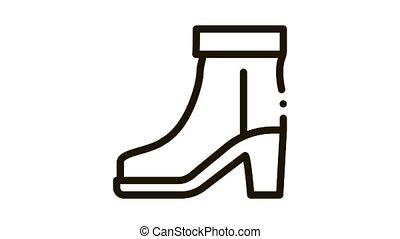 Boot Shoe Icon Animation. black Boot Shoe animated icon on white background