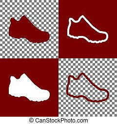Boot sign. Vector. Bordo and white icons and line icons on chess board with transparent background.