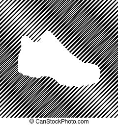 Boot sign. Vector. Icon. Hole in moire background.