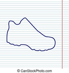 Boot sign. Vector. Navy line icon on notebook paper as background with red line for field.