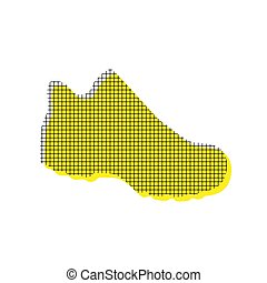 Boot sign. Vector. Yellow icon with square pattern duplicate at