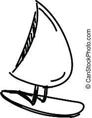 boot, skizze, vektor, segel, abbildung