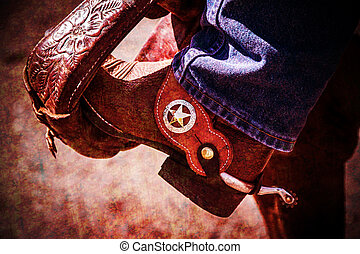 Rustic looking cowboy boot with spur in stirrup with antiqued vignette.