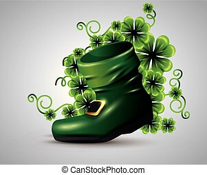 boot with clovers plants to st patrick event