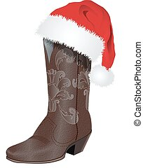 BOOT WITH SANTA HAT