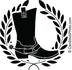 boot with spurs. stencil