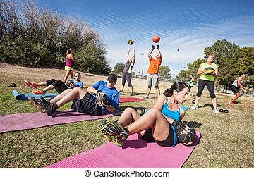 bootcamp, extérieur, classe, fitness