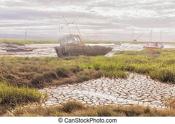 boote, dunstig, verlassen, riverbanks, fischerei