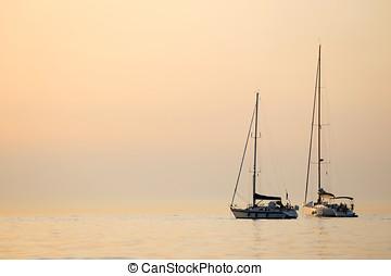 boote, geankert, in, adriatisches meer