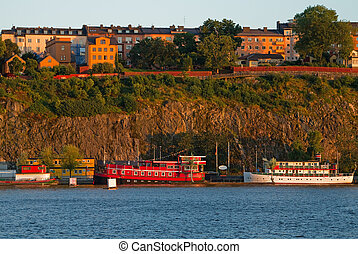 boote, in, stockholm, in, summer.