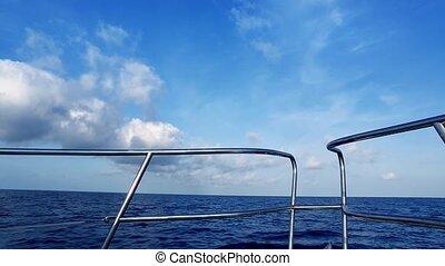 bootfahren, in, blauer ozean, see ansicht