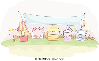 Booth Fair Banner - Illustration of Colorful Booths at a...